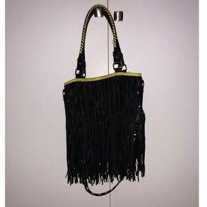 Black & Neon Yellow Fringed Steve Madden Bag